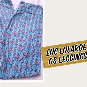 EUC Lularoe leggings OS - blue and red lines